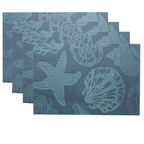 Doupoo-Sea-Place-Mats-Beach-ThemeHeat-Resistant-Placemats-for-Dining-Table-Mats-Set-of-4-Nautical-Blue-Reversible-Placemats-Starfish-Seashell-Conch