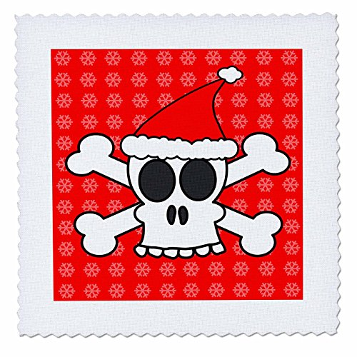 - 3dRose qs_6363_1 Skull and Crossbones Red Santa Hat Snowflakes Quilt Square, 10 by 10-Inch
