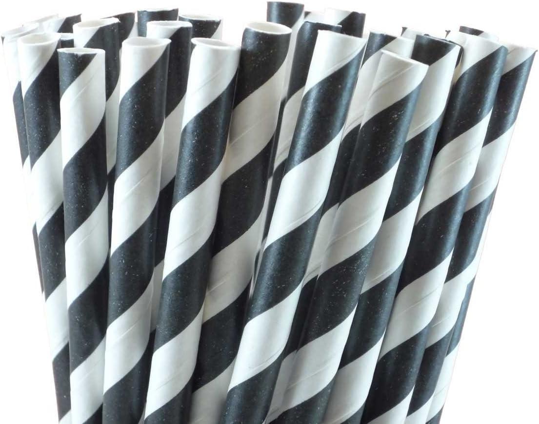 Elegant Party Straws BlackAquaWhite- 24 pieces Damask Paper Straws
