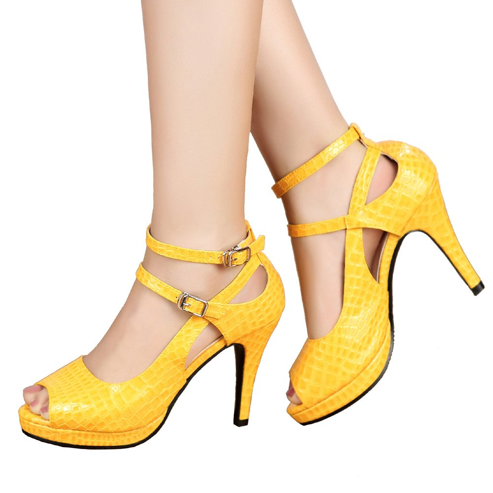 getmorebeauty Women's Yellow Patent Snake Stripe Ankle Straps Dress Heeled Sandals 8 B(M) US