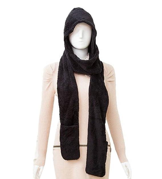 Amazon Com Xinliya Women S Fleece 3 In 1 Long Hooded Scarf Gloves