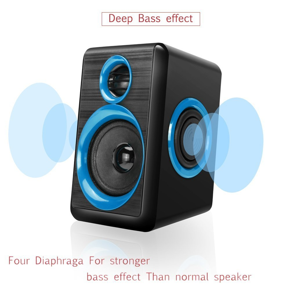 Computer Speakers,AIERSIQI USB Wired Powered Mulitimedia Speaker with Subwoofer Volume Control Built-in 4 Loudspeaker Diaphragm for PC/Laptop/Desktop by AIERSIQI (Image #5)