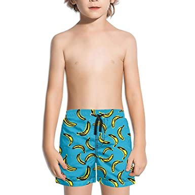 a9f013bee3ae2 XULANG Boys Girls Blue Draw Banana White Swim Trunks Surf Skate Quick Dry  Boardshorts