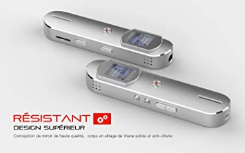 COOAU Grabadora de Voz Digital Portátil, 1536 Kbps 8GB Soporte Tarjeta 32GB, Estuche Metálico, Reducción de Ruido, Grabador de Sonido con Reproductor ...