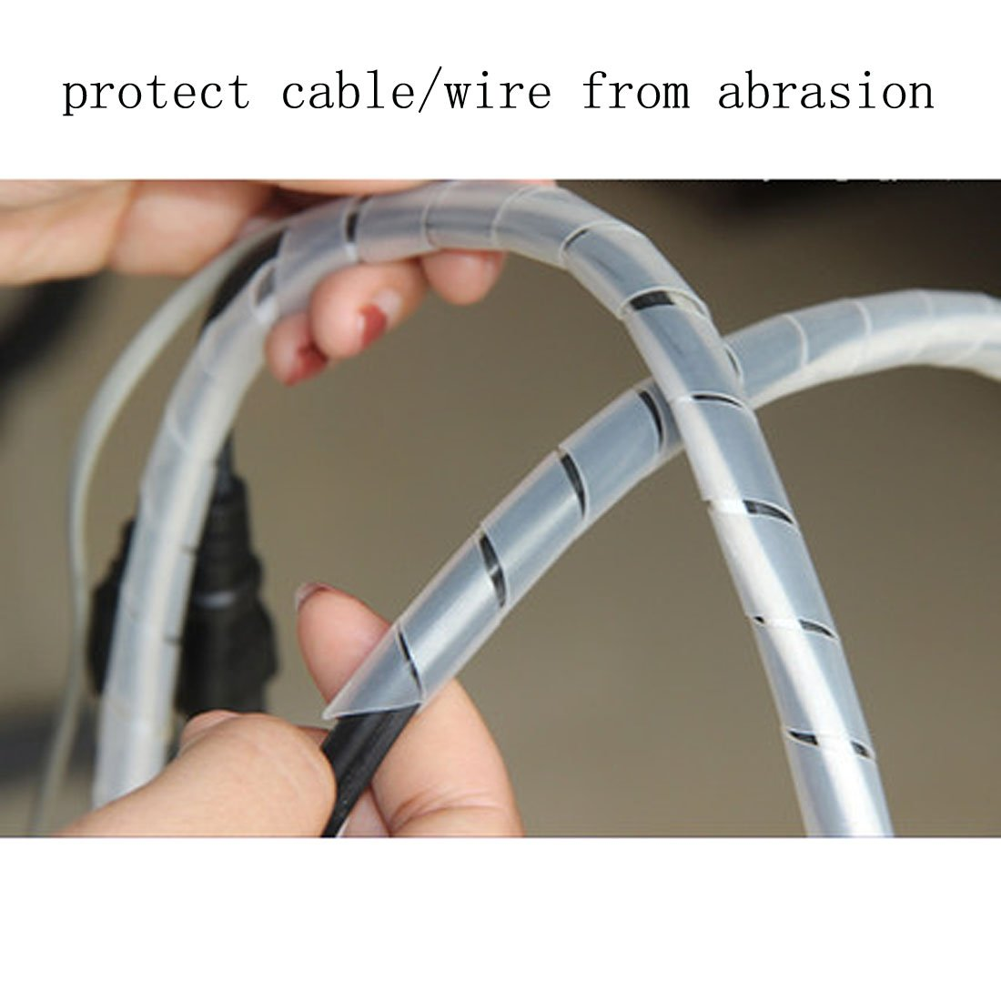 Nominal Diameter: 10mm Black HUIFANGBU 10m PE Spiral Pipes Wire Winding Organizer Tidy Tube White Color : White
