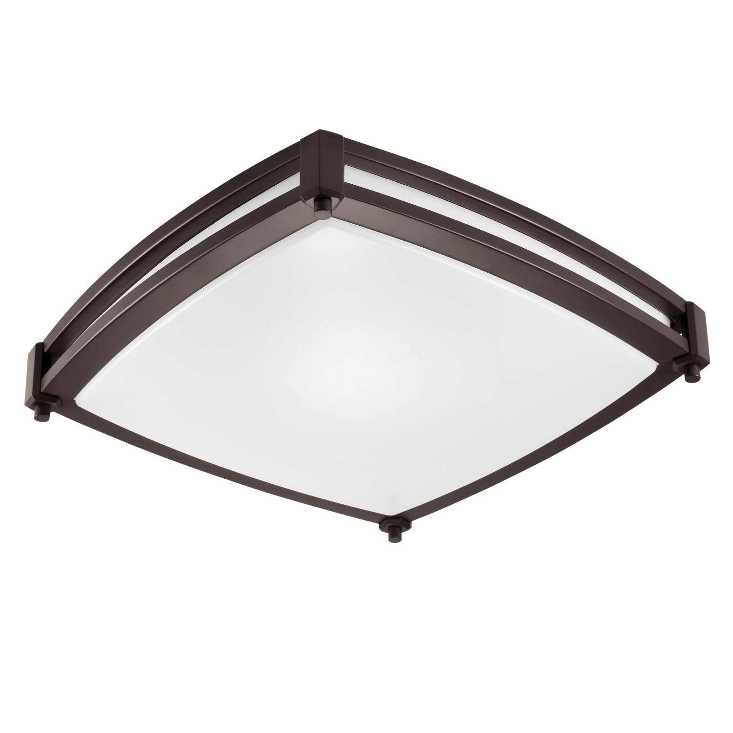 GetInLight LED Flush Mount Ceiling Light, 16-Inch, 25W(125W Equivalent), Bronze Finish, 3000K(Soft White), Dimmable, Square, Dry Location Rated, ETL Listed, ...