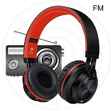 Sonido Intone Auriculares inalámbricos Bluetooth Plegable con micrófono BT-06 (Color: Rojo)