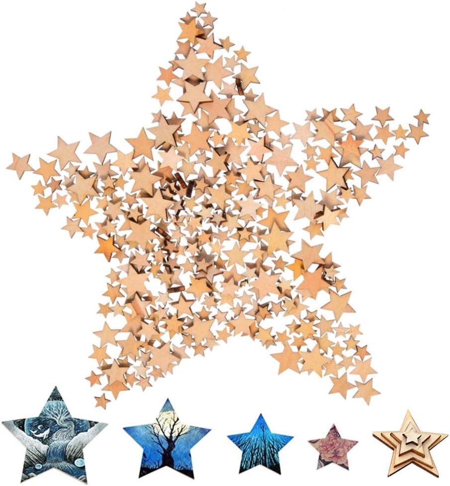 Nuluxi Estrellas de Madera Natural Rebanadas Tamaño Mixto Estrella de Madera Estrellas de Madera Rodajas Mezcla 4 Tamaños para Fiesta de Navidad DIY Decoración de Dispersión de Mesa de Manualidades