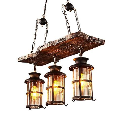 Lámpara colgante vintage madera estilo Loft Luces colgantes ...