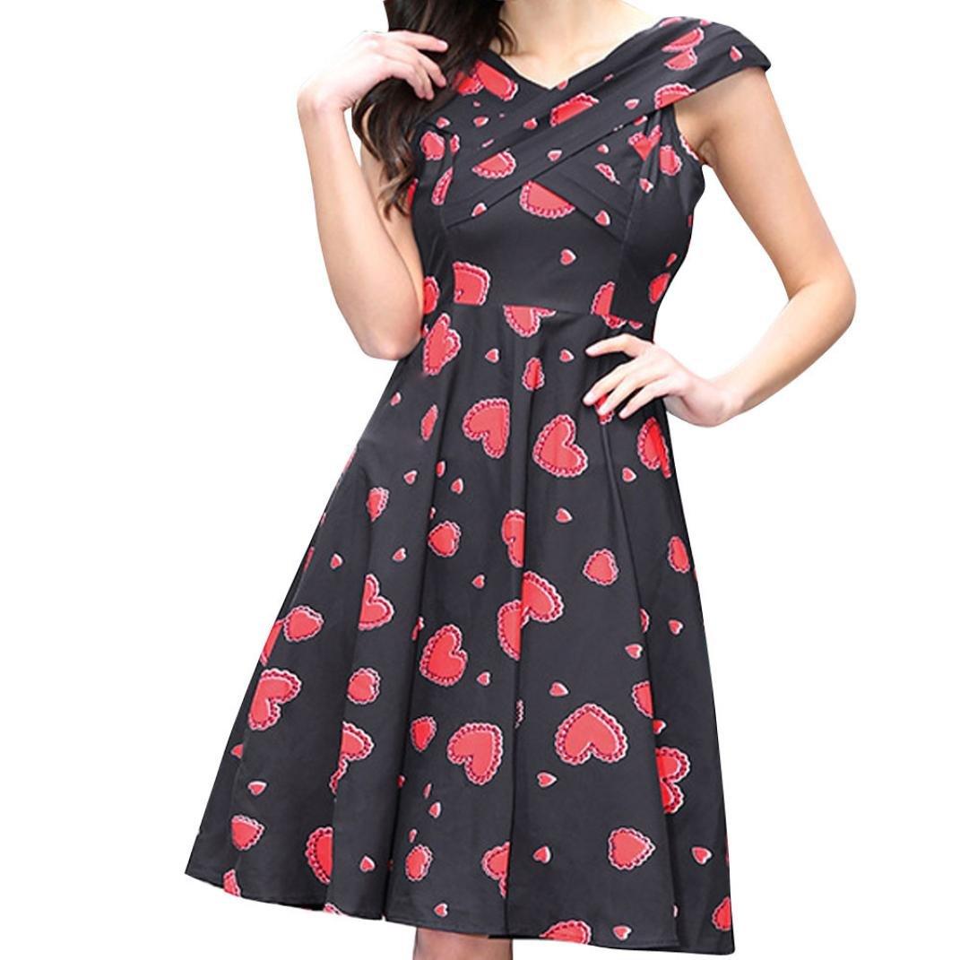 Amazon.com: Alixyz Dress, Women Heart Print Sleeveless Fashion Party Evening Prom Swing Dress: Clothing