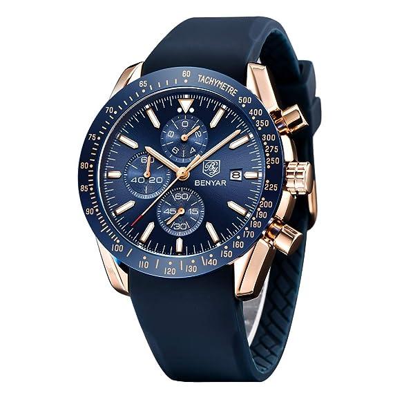 informazioni per 0ade1 aa384 BY BENYAR Orologio cronografo da uomo Movimento al Quarzo Moda Sportivo  Watch 30M impermeabile Elegante Regalo per Uomo
