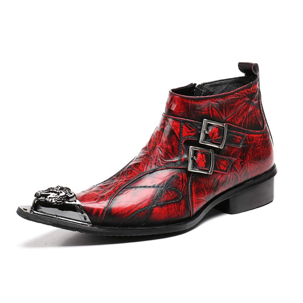 Jiahe Britische Martin-Stiefel Wiesen Wiesen Wiesen Kurze Schlauch-Denim-Stiefel-Leder-Außenstiefel auf, die für Friseure, Designer, stilvolle Männer geeignet sind,41 36158c