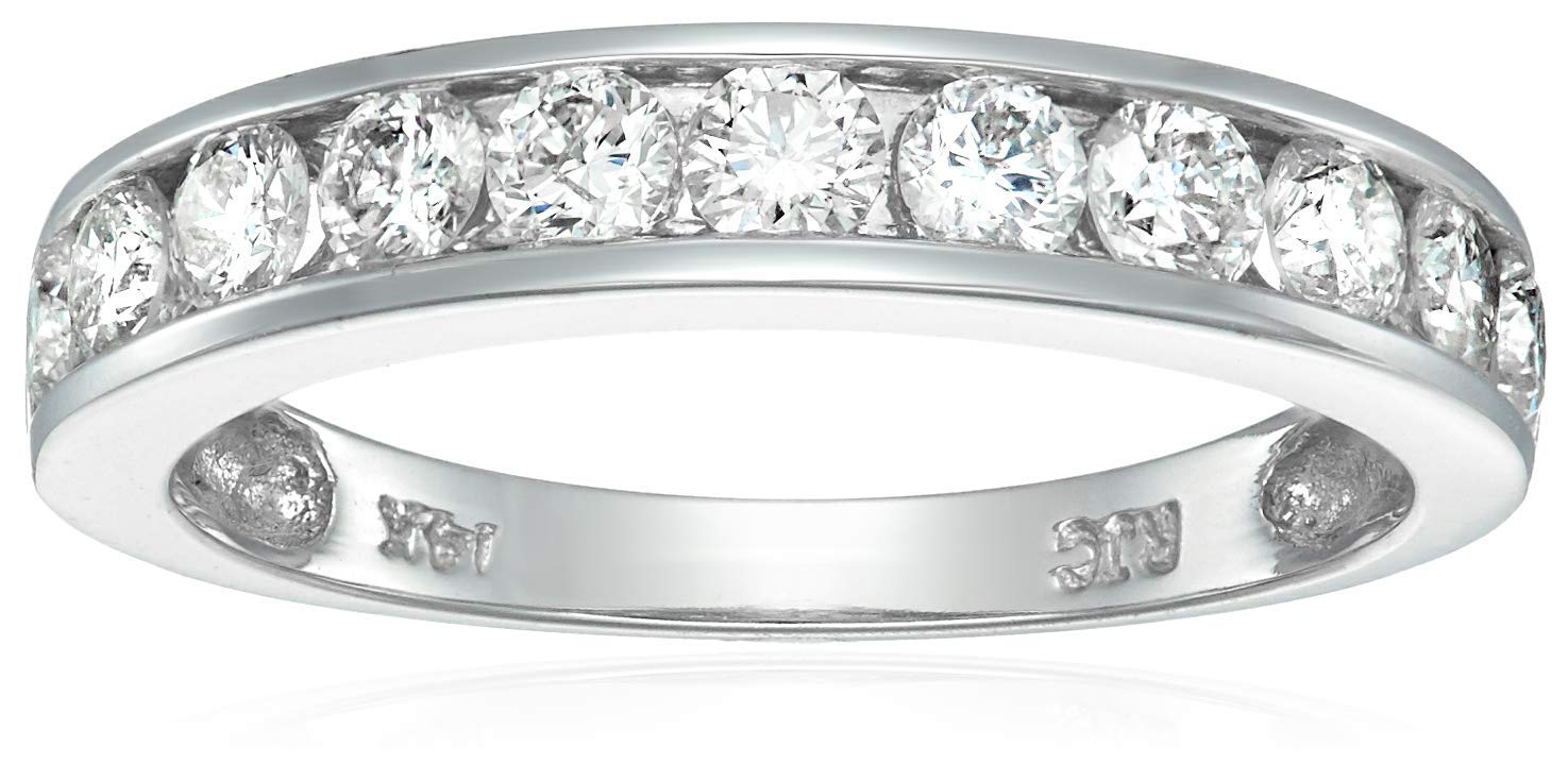 Vir Jewels 1 cttw Certified Diamond Wedding Band 14K White Gold Channel I1-I2 Clarity In Size 7