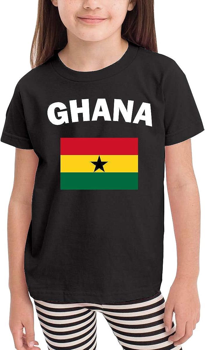 CERTONGCXTS Little Girls Ghana Flag-1 Soft Short Sleeve T-Shirt Size 2-6