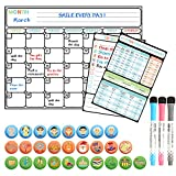 Magnetic Dry Erase Calendar Set, Large Reusable Monthly White Board for Refrigerator, Magnetic Kitchen Conversion Chart & to Do List & 27 Icons Included - Best Gift Set for Smart Planners