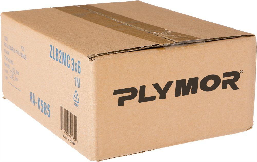 Plymor 3'' x 6'', 2 Mil (Case of 1000) Zipper Reclosable Plastic Bags