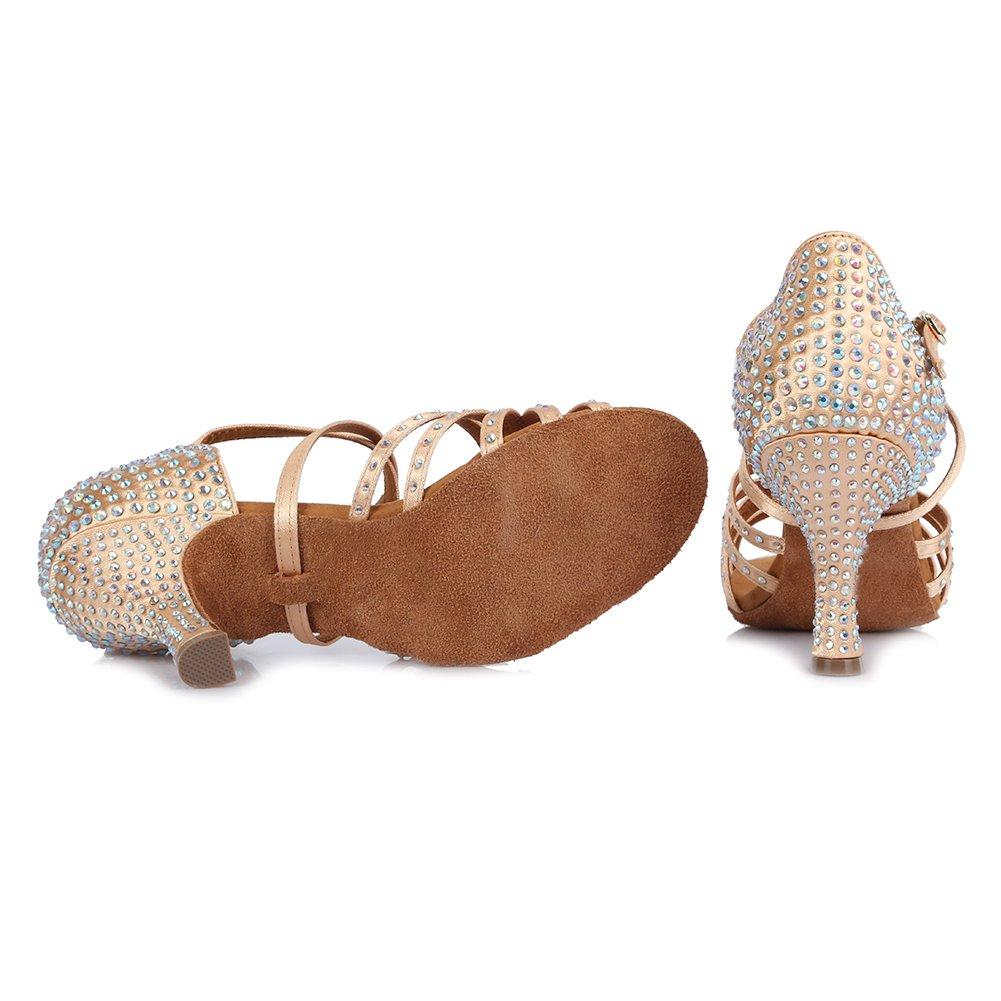 HROYL Chaussures de Danse Latine pour Femmes Satin de Haute qualit/é avec Strass Chaussures de Danse de Salon Mod/èle CT404