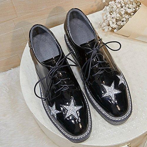 Y la Zapatos de Fuera la Negro Engrosamiento Torta Primavera de Cuero DHG Cinco Tacón Dentro de Alto de de Dentro Hembra 38 Estrellas de del Esponja de gwxAtdz