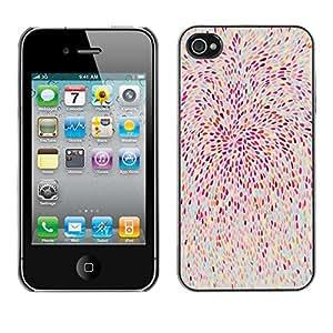 Cubierta de la caja de protección la piel dura para el Apple iPhone 4 / 4S - pink feathers abstract floral nature pattern