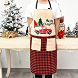 MINILIFE Linen Professional Bib Apron with 2 Pockets and Embroidered Red Truck Design for Home Kitchen, BBQ Grill, Baking and