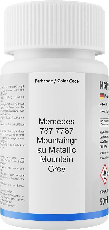 Mg Prime Autolack Lackstift Set Für Mercedes 787 7787 Mountaingrau Metallic Mountain Grey Basislack Klarlack Je 50ml Auto