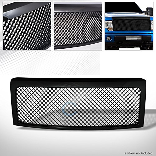 R&L Racing Black Finished Front Grille Luxury Sport Mesh Style Hood Bumper Grill Guard Abs for 2009-2014 Ford F150 All Models