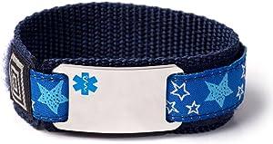 Food Allergy Kids Sport Medical ID Alert Bracelet with Blue Emblem for Children. Size 6.5