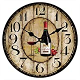 Upuptop Unique Home Hanging Decor Red Cup Wine Round Wall Clock Rustic Country Shop Style 14″