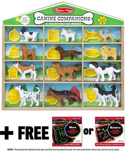 Doug Dachshund - Canine Companions Toy 12-Piece Play Set + FREE Melissa & Doug Scratch Art Mini-Pad Bundle [94047]