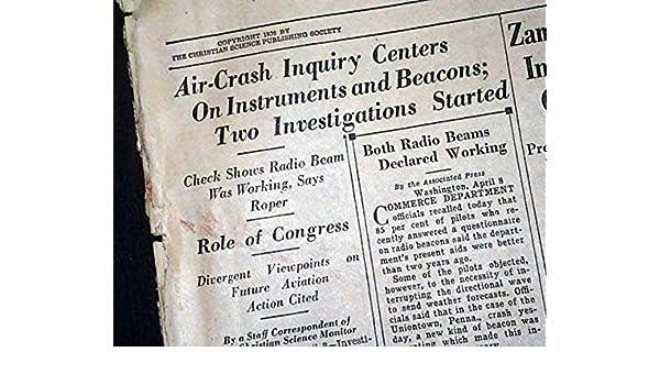 Uniontown Pa Pennsylvania Twa Flight 1 Airplane Crash Disaster 1936 Newspaper The Christian Science Monitor Boston April 8 1936 At Amazons Entertainment