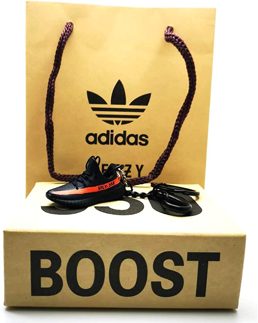 Mini Sneaker Keychain Black Shoes Box and Bag Boost Mini 3D Shoes Keychain Scale