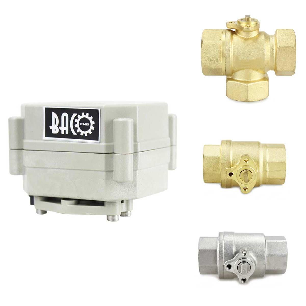 BACOENG 1 DN25 V/álvula Motorizada de Esfera de 3 V/ías de Lat/ón de AC110//230V CR202 NC