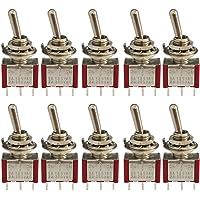 CESFONJER Mini-tuimelschakelaar, AC 125V 6A / 250V 2A SPDT ON-Off-ON 3 pins 3 posities marinevoertuigen tuimelschakelaar…