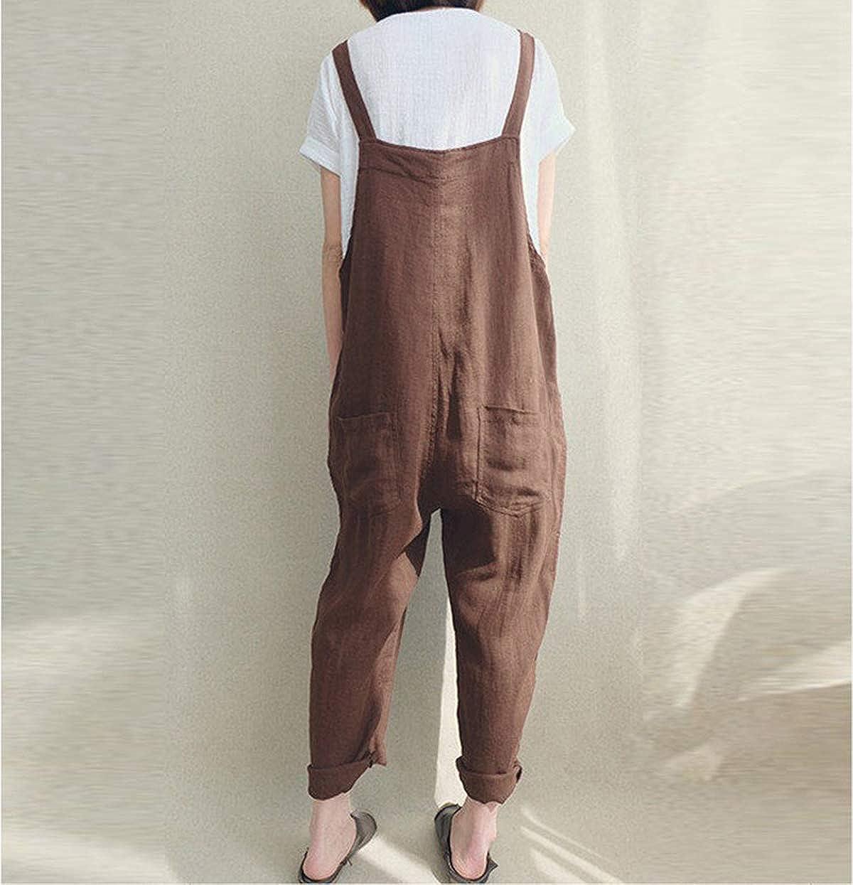 Harri me Women Summer Loose Linen Suspender Overalls Jumpsuit Bib Trousers Wide Leg Pants Plus Size