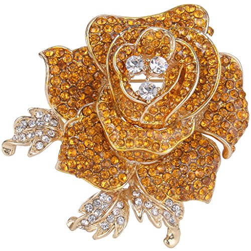 EVER FAITH Women's Austrian Crystal Blooming Beautiful Rose Flower Brooch Topaz Color Gold-Tone