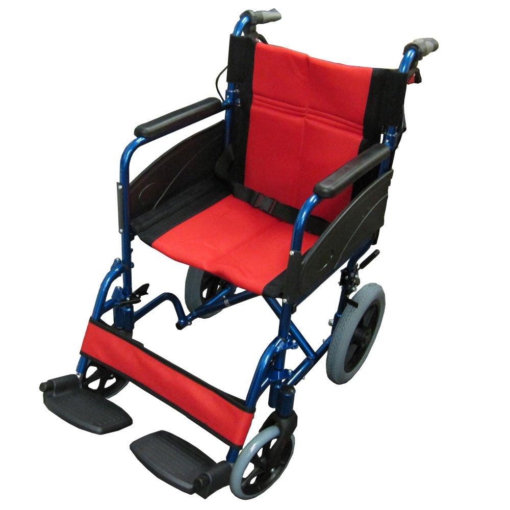 【非課税】Nice Way2(ナイスウェイ) (ブルー) 折りたたみ式 車椅子【座面幅約46cm】【ゆったりサイズ】【簡易式】【NW976LABJ】【介護介助用】【介助ブレーキ付き】 B01ER8BSQA  ブルー