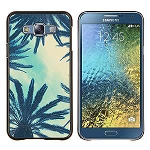 LECELL--Funda protectora / Cubierta / Piel For Samsung Galaxy E7 E700 -- Árboles Sky View Nubes Azules --