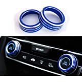 Duoles 2pcs Anodized Aluminum AC Climate Control Ring Knob Covers for 2016 2017 2018 201910th Gen Honda Civic (Blue)