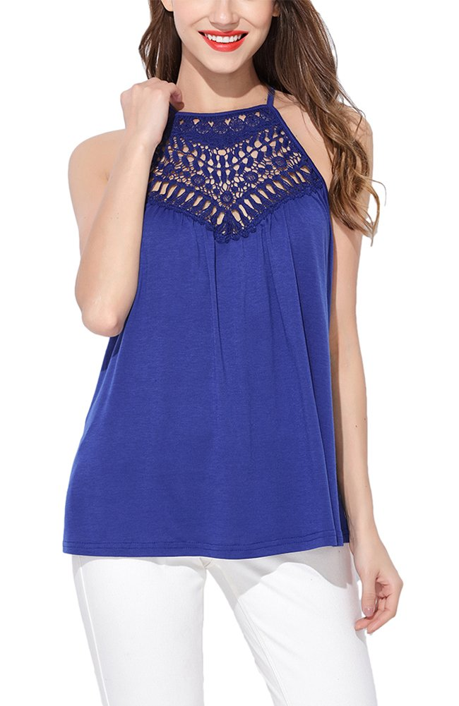 Jepwe Womens Halter Top Lace Spaghetti Strap Tank Top Sleeveless Blouse Shirt