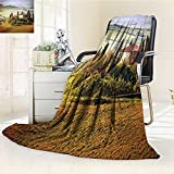 YOYI-HOME Digital Printing Duplex Printed Blanket from Stone Ancient Village of Montepulciano Italy Photography Accessories Green Beige Summer Quilt Comforter /W79 x H59