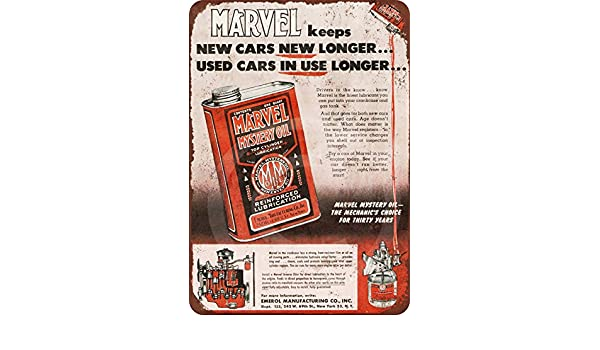 "1952 Marvel Mystery Oil Rustic Vintage Retro Metal Sign 8/"" x 12/"""