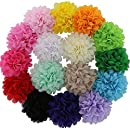"QingHan 16Pcs 4.5"" DIY Hair Flower Clips Single Pronged Chiffon Fabric Felt Wedding Boutique Hair Bows For Girls Women Teens"