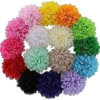 "QingHan 16Pcs 4.5"" DIY Hair Flower Clips Single Pronged Chiffon Fabric Felt W..."