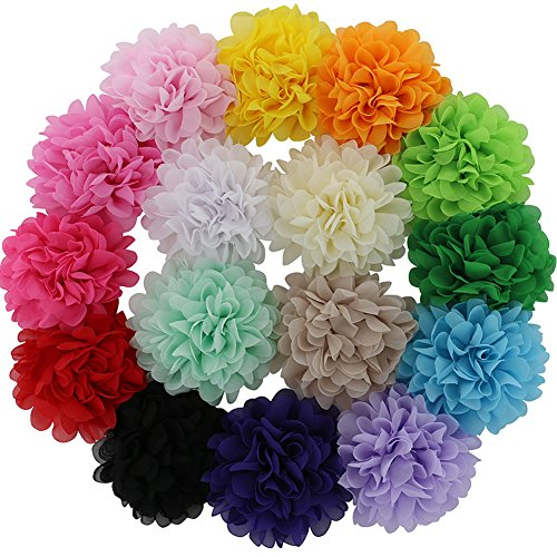 QingHan 16Pcs 4.5 DIY Hair Flower Clips Single Pronged Chiffon Fabric Felt Wedding Boutique Hair Bows For Girls Women Teens