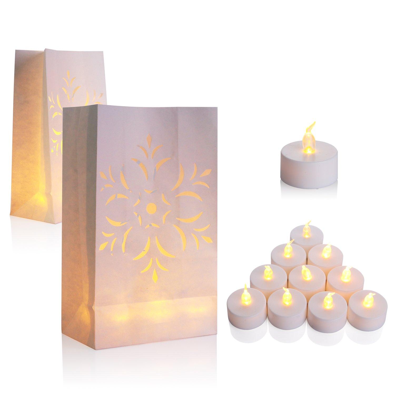 50 Flameless Tea Lights - Yellow Flickering LED Tealight Candles with 50 Bonus Luminary Bags