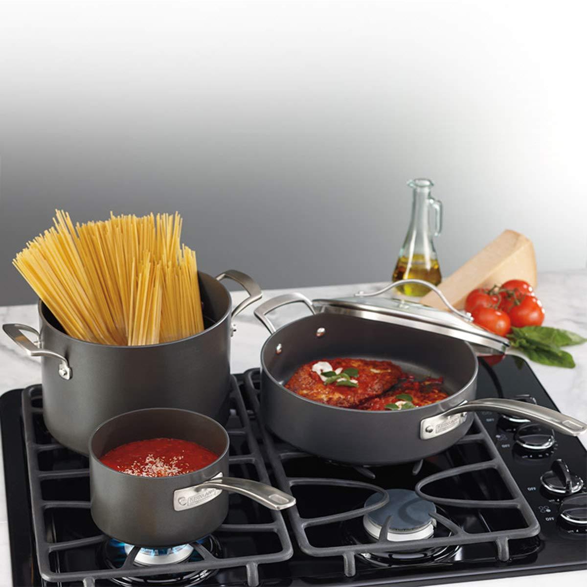 15-teilig Piece Hard anodised cookware Set harteloxiertes Aluminium Kirkland Signature Kochgeschirr