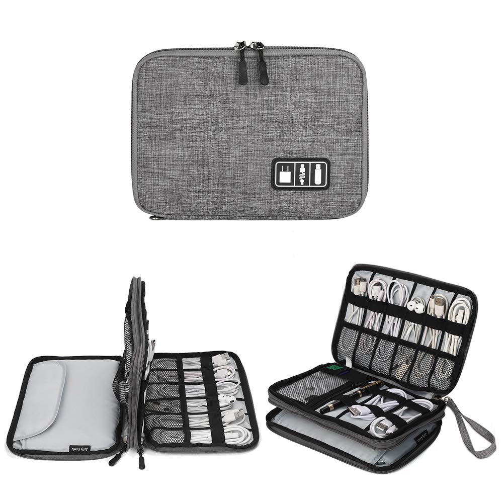 Electronics Organizer, Jelly Comb Electronic Accessories Cable Organizer Bag Waterproof Travel Cable Storage Bag for Charging Cable, Cellphone, Mini Tablet (Up to 7.9'') and More (Grey) by Jelly Comb
