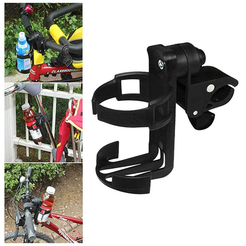 Transser Universal Fit Stroller Cup Holder - 360 Degree Rotation Anti-Slip Adjustable Clamp Drink Bottle Coffee Mug Stabilizer for Pram Pushchair Bike Bicycle Rollator Handlebars (Black)