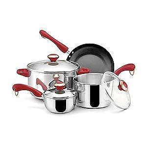 Paula Deen Stainless Steel Red Handle 7-piece Cookware Set