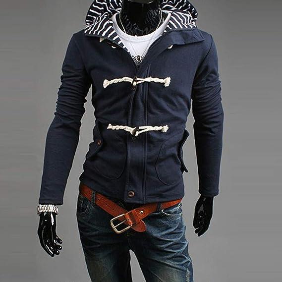 JiaMeng Moda otoño Invierno cálido Casual con Capucha Bolsillo botón Chaqueta Chaqueta Superior Chaqueta de Las Sudaderas con Capucha Abrigos Hombre ...